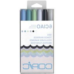 Copic Marker I6-SEA Ciao Markers, Sea, 6-Pack