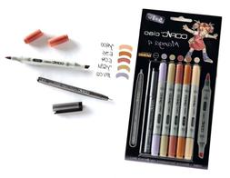 Copic Ciao 5+1 Manga 4 Set Twin Tipped Markers Plus 0.3 Fine