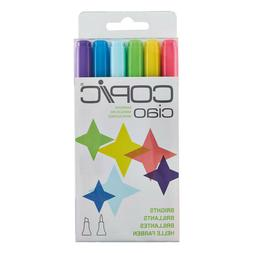 Copic CIAO 6PK Markers - Dual Tipped Refillable Ink Markers