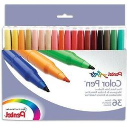 Pentel Color Pen Set, Set of 36 Assorted Colors  New