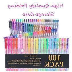 Coloring Gel Pens Glitter Metallic Pastel Neon Swirl Drawing