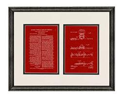 Corn-Planter Marker Patent Art Burgundy Red Print in a Black