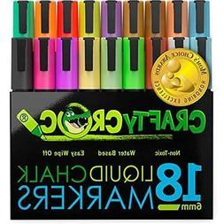 Crafty Croc Liquid Chalk Markers, Jumbo 18 Pack, Neon Plus E