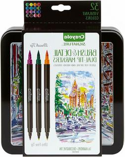 Crayola Brush Markers, Dual-Tip with Ultra Fine Marker, Stor