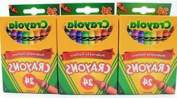 3-Pack Crayola 24 Count Box of Crayons Non-Toxic Color Color