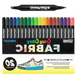 Crazy Colors Dual Tip Fabric & T-Shirt Marker 20 Color Set,