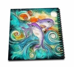 3dRose db_116230_1 Cute Happy Purple Dolphins Swimming in Th
