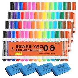 Dry Erase Markers with Eraser, 60 Pack Shuttle Art 15 Colors