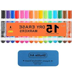 Dry Erase Markers with Eraser, 15 Colors Shuttle Art White B