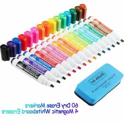 Dry Erase Markers with Eraser 60 Pack Shuttle Art 15 Colors