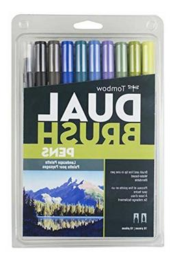 Tombow 56169 Dual Brush Pen Art Markers, Landscape, 10-Pack.