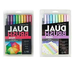 Tombow Dual Brush Pen Art Markers - Pastel & Brights 10-Pack