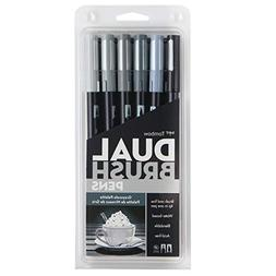 Tombow Dual Brush Pen: Grayscale, Professional, 6-Color Set