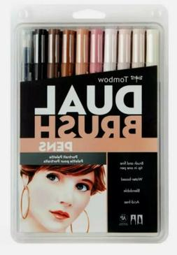 Tombow 56170 Dual Brush Pen Art Markers, Portrait, 10-Pack.