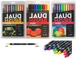 Tombow Dual Brush Pen Art Markers with Primary, Bright and S