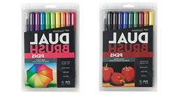 Tombow Dual Brush Pen Art Markers Set = Primary Colors  + Br
