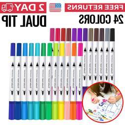 Dual Brush Pens Art Fine Tip Coloring Markers Bullet Journal