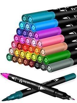 Dual Brush Pens Art Projects Markers Colored Fine Tip Pen Se