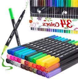 Dual Tip Brush Marker Pens 34 Color, Fine Point Brush Colori