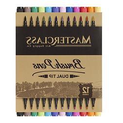 Masterclass Premium Dual Tip Brush Markers, 12 Color, Non-To