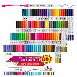 100 Colors Dual Tip Brush Pens with Fineliners Art Markers,