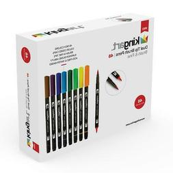 KINGART 445-48 Set of 48 Dual TIP Brush PENS, Unique Colors