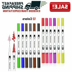 Dual Tip Brush Pens Set Fine Colored Markers Drawing Journal