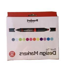 Premiere Dual Tip Design Markers, Alcohol Based, 12 Color Se