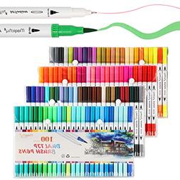 Dual Tip Marker Pens 100 Colors, Magicfly Watercolor Dual Br