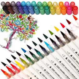 Dual Tip Watercolor Brush Markers Calligraphy Pens for Adult