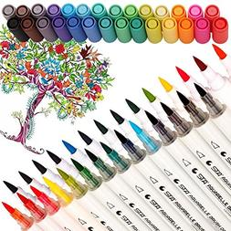 Dual Tip Watercolor Brush Markers - Pandafly Non-Toxic Water