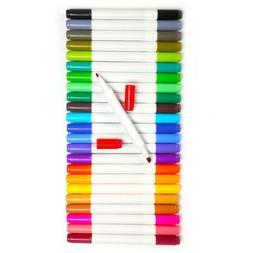 Dual Tip Watercolor Pens Brush 24 Colors Water Based Fine Sk