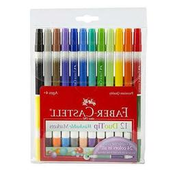 Faber-Castell DuoTip Washable Markers - 12 Markers, 24 Color