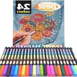 Best Fabric Markers  Non-Toxic - Set of 24 Individual Colors