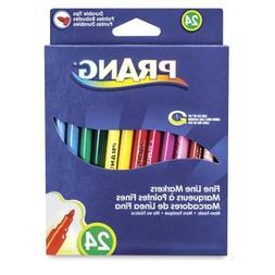 Prang Fine Line Washable Art Markers, 24-Color Set