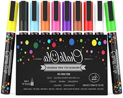 Fine Tip Chalk Markers - Pack of 10 neon Color pens - Non To