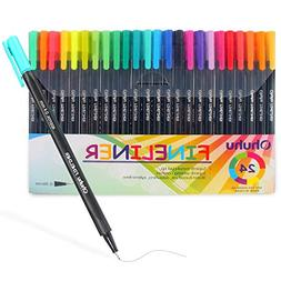 Fineliner Color Pen Set, 24 Colors of Ohuhu 0.4 mm Fine Line