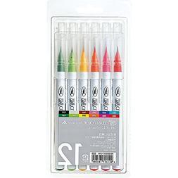 Kuretake Fude Brush Pen, Clean Color Real, 12 Colors Set