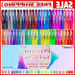 Gel Glitter Pens 48 Set Pen Drawing Colors Coloring Book Kid