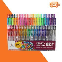 Gel Pens 120 Unique Colors Set for Adult Coloring Books Art