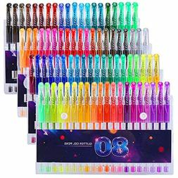Glitter gel colors pen Markers 80 Units Set Adult and kids I