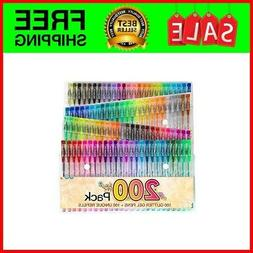 200 Color Glitter Gel Pen Set, Reaeon 100 Individual Gel Gli