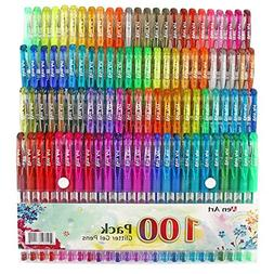 Glitter Gel Pen by Aen Art Set of 100 Unique Colors Glitter