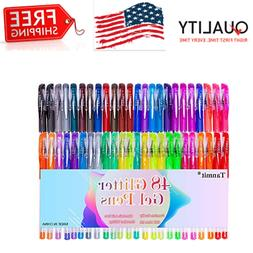Glitter Gel Pens 48 Colors Glitter Markers Fine Point Colore