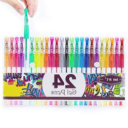 Glitter Gel Pens Aen Art 24 Colors Gel Pen Set, Colored Fine
