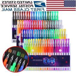 Glitter Gel Pens Set 80 Colors Gel Markers Pen for Adult Dra