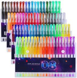 Glitter Gel Pens Set 80 Colors Gel Markers Pen for Adult Col