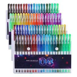 Glitter Gel Pens Set, 80 Unique Colors Gel Markers Pen For A