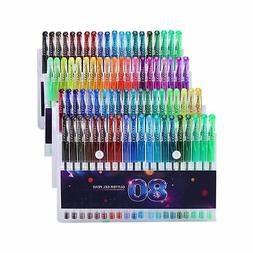 Glitter Gel Pens Set, 80 Unique Colors Gel Markers Pen for A