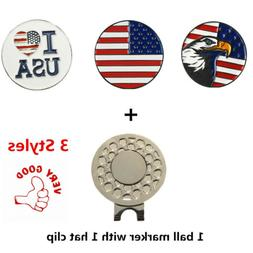 """Golf Ball Marker With Magnetic Hat Clip """"American Flag""""  """"US"""